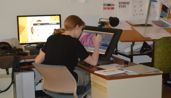 Grasshorse animator Elizabeth Linneman at work in the studio.