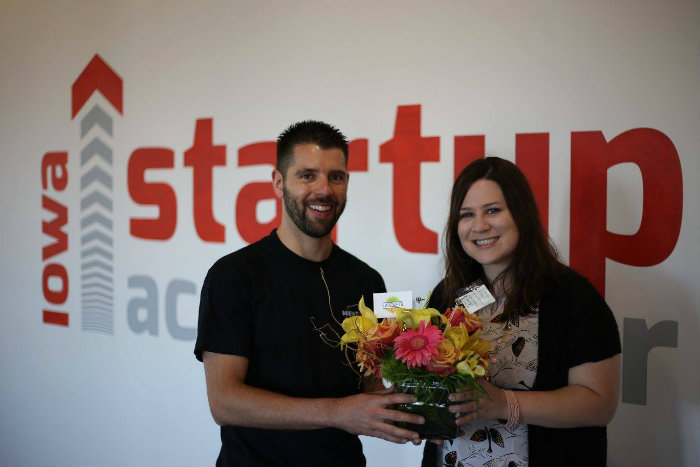Goquets co-founders Shawn Harrington and Lyndsay Horgan at the Iowa Startup Accelerator.