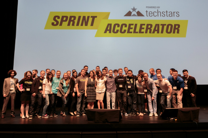 Sprint CEO Marcelo Claure joins colleagues Kevin McGinnis and Doug Dresslaer, Techstars' John Fein, Alisha Templeton, and the Sprint Accelerator class of 2015 at demo day June 4, 2015.