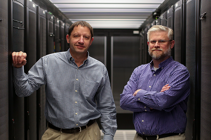 Mike Pfeifer, left, and Bill Sheesley stand in Union Pacific's 35,000 sq. ft. Omaha data center